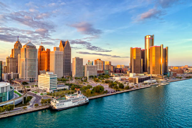 Detroit Aerial Panorama stock photo