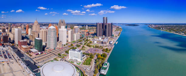 Detroit Aerial Panorama Detroit Aerial Panorama detroit michigan stock pictures, royalty-free photos & images
