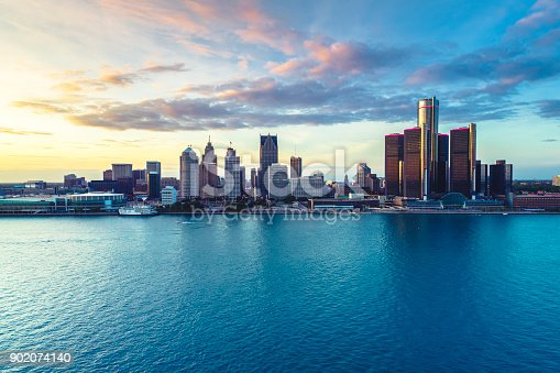 Detroit Aerial view sunset
