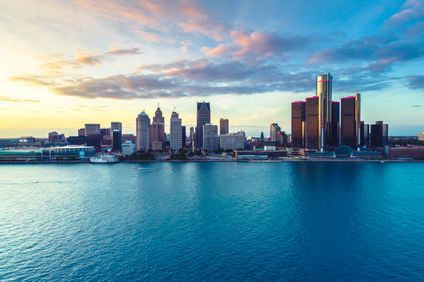 Detroit Aerial view sunset stock photo