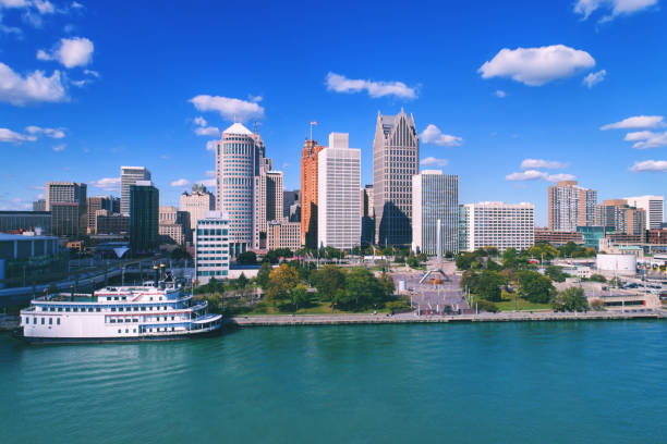 Detroit Aerial waterfront Detroit Aerial waterfront detroit michigan stock pictures, royalty-free photos & images