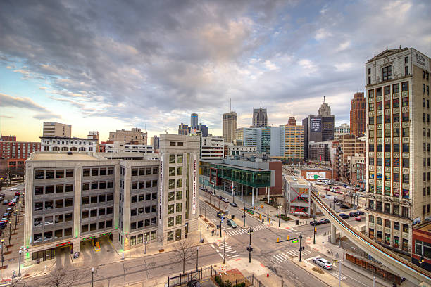 Detroit City Scape Detroit city view from roof top with People Mover line detroit michigan stock pictures, royalty-free photos & images