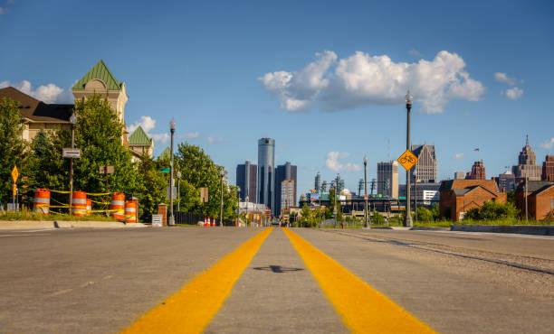 Detroit city street stock photo
