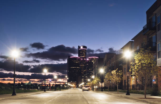 Detroit cityscape at sunset Detroit cityscape at sunset detroit michigan stock pictures, royalty-free photos & images