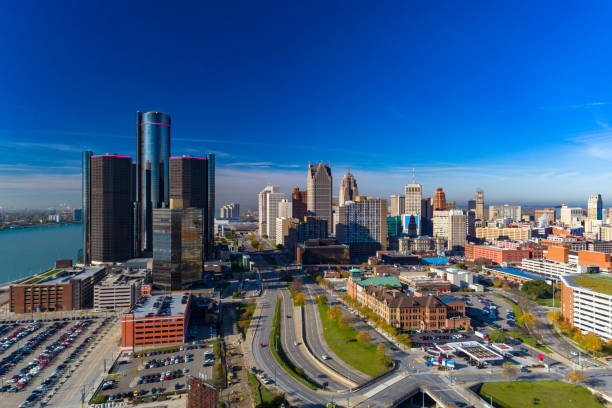 Detroit Downtown Skyline with Highway and River stock photo