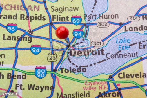 Fotografía de Mapa De La Ciudad De Detroit Michigan y más banco de ...