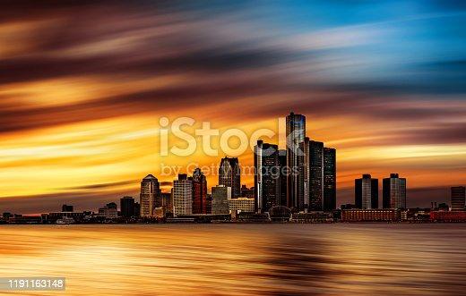 istock Detroit, Michigan - Abstract Skyline 1191163148