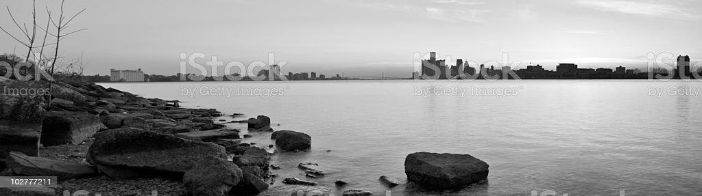 Detroit Michigan and Windsor Ontario Skyline Panorama stock photo