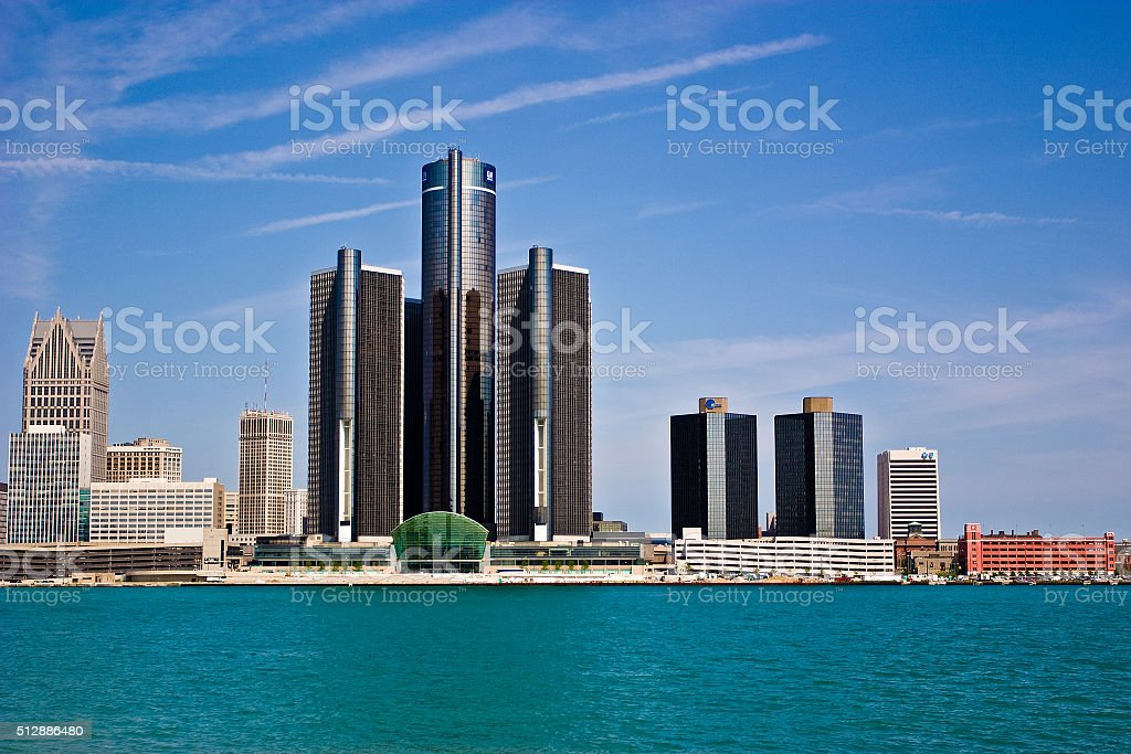 Detroit, Michigan as seen from Windsor, Ontario stock photo