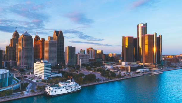 Detroit Michigan Downtown skyline Aerial Sunset stock photo