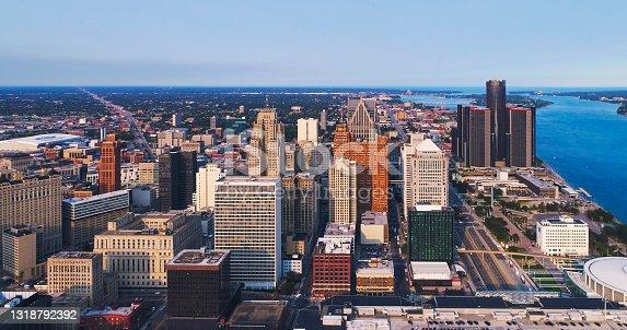 istock Detroit Michigan Downtown skyline Aerial Sunset 1318792392