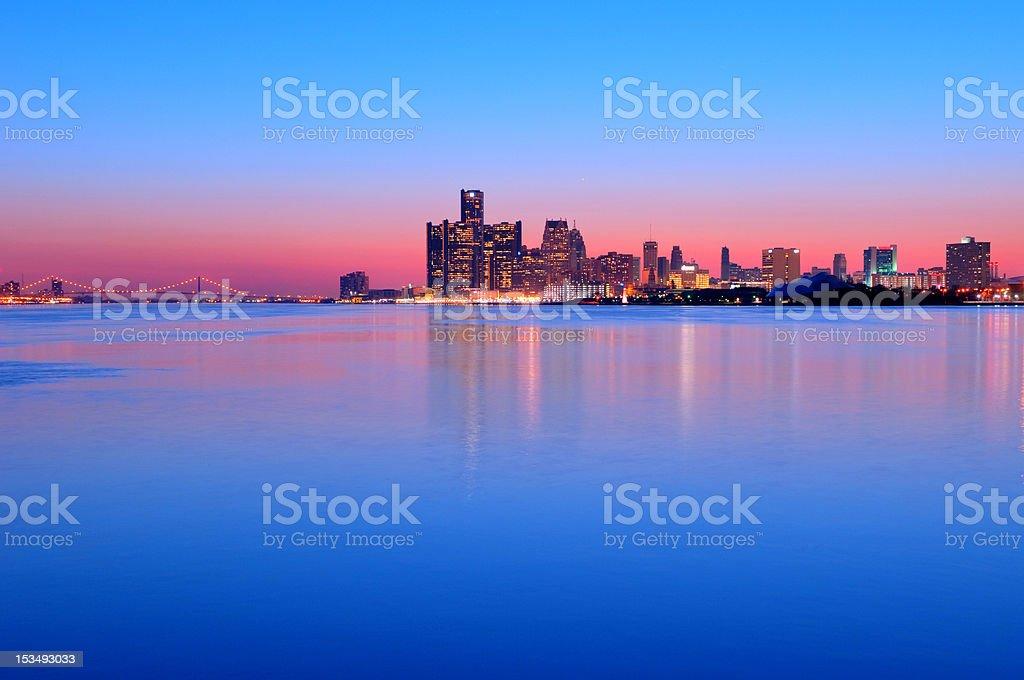 Detroit, Michigan Skyline at Night stock photo