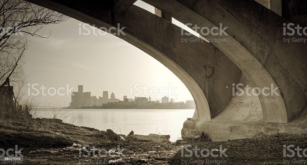 Detroit Michigan Skyline Belle Isle Bridge View stock photo