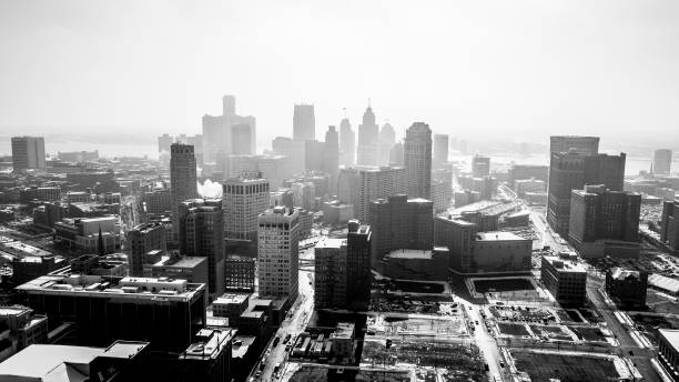 Detroit Michigan Skyline Skyline of the city of Detroit Michigan detroit michigan stock pictures, royalty-free photos & images
