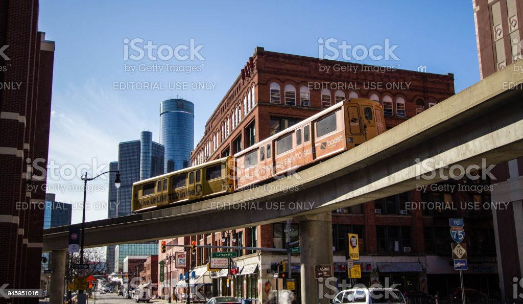 Detroit Michigan Urban City Street And Skyline stock photo