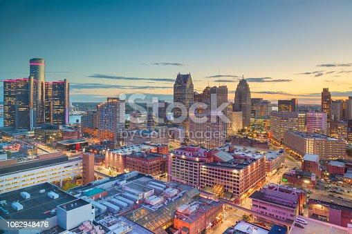 istock Detroit, Michigan, USA Downtown Skyline at Dusk 1062948476