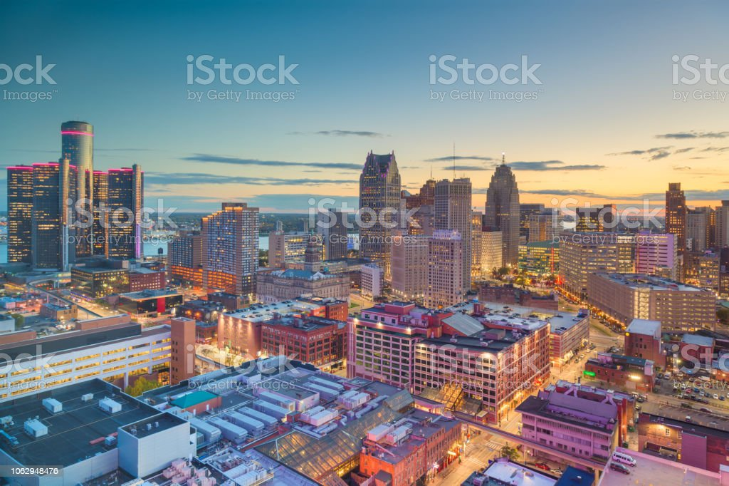 Detroit, Michigan, USA Downtown Skyline at Dusk stock photo