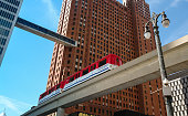 Detroit, Michigan, USA - September 1, 2008: Detroit People Mover train between the Guardian Building and One Woodward in downtown Detroit, Michigan, USA