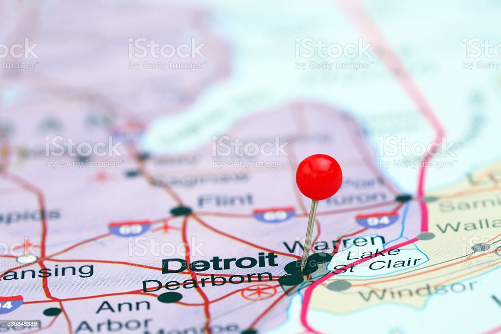 Detroit Pinned On A Map Of Usa Stock Photo Istock