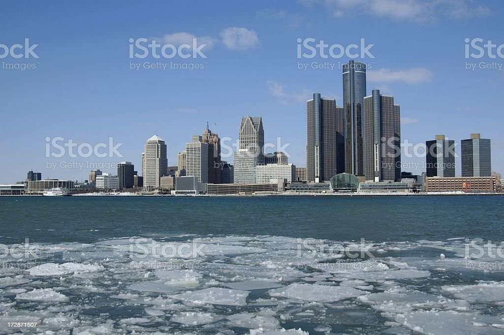 Detroit River with Ice Floes stock photo