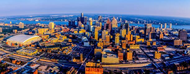 Detroit Skyline Aerial, MI stock photo