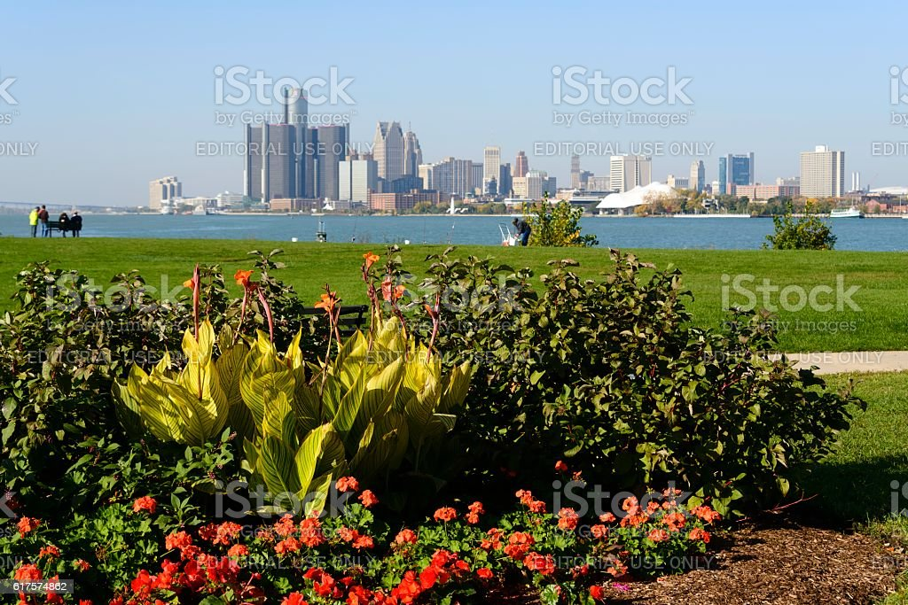 Detroit Skyline as Seen From Belle Isle stock photo
