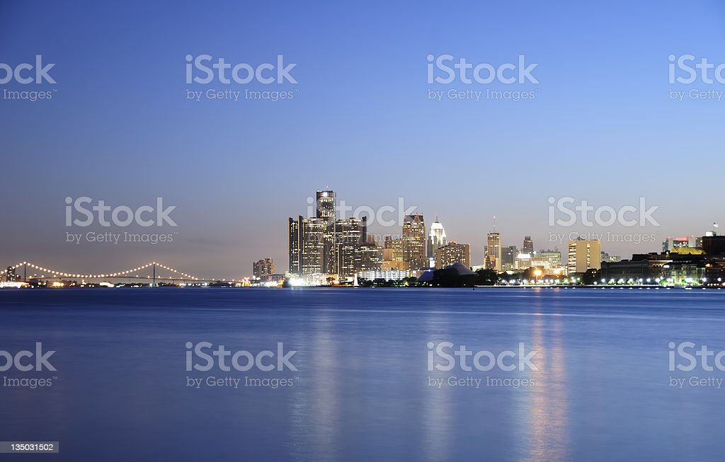 Detroit Skyline at Night stock photo