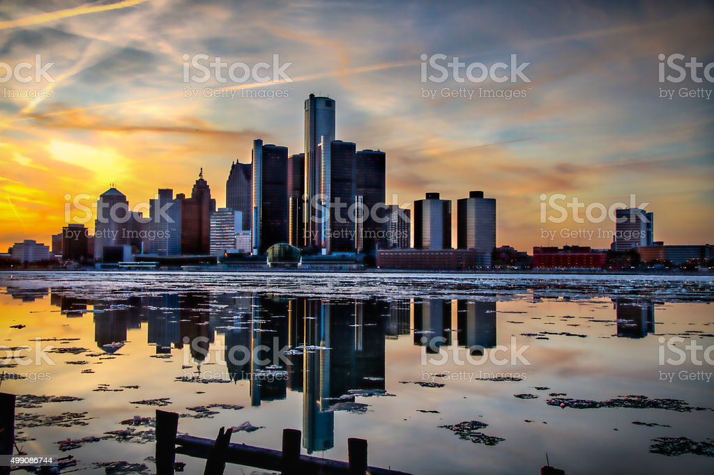 Detroit Skyline at sunset stock photo