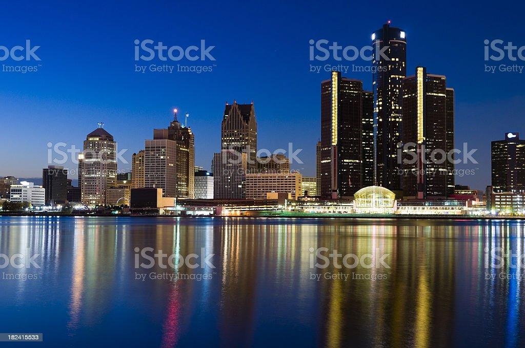 Detroit Skyline at Twilight royalty-free stock photo
