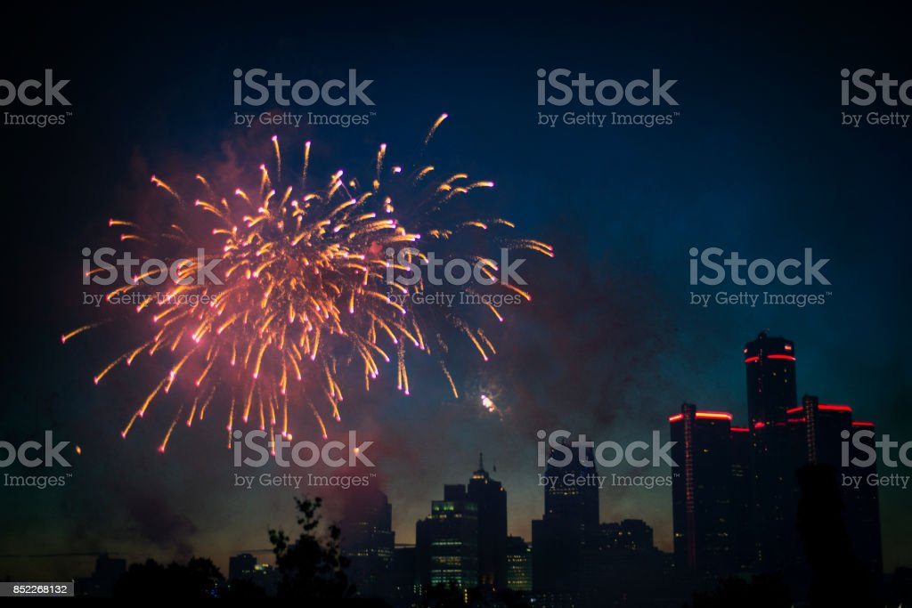 Detroit skyline fireworks stock photo
