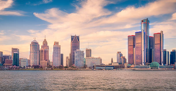 Detroit Skyline Detroit Skyline, Detroit, Michigan, USA detroit michigan stock pictures, royalty-free photos & images