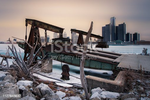 The Detroit skyline as seen from across the Detroit River, in Windsor, Ontario, Canada.