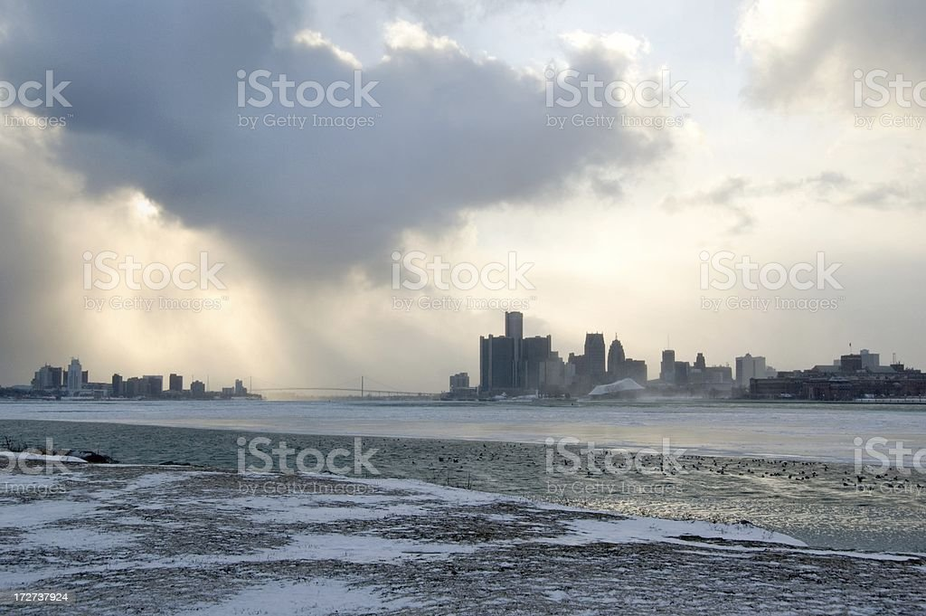 Detroit Skyline with Dramatic Snowstorm Clouds stock photo