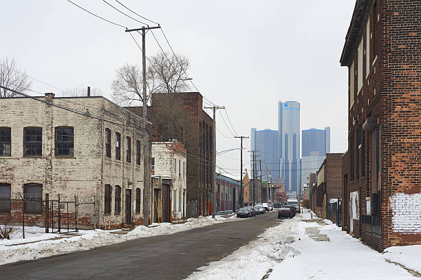 Detroit skyscraper with old rustic buildings in the foreground. stock photo