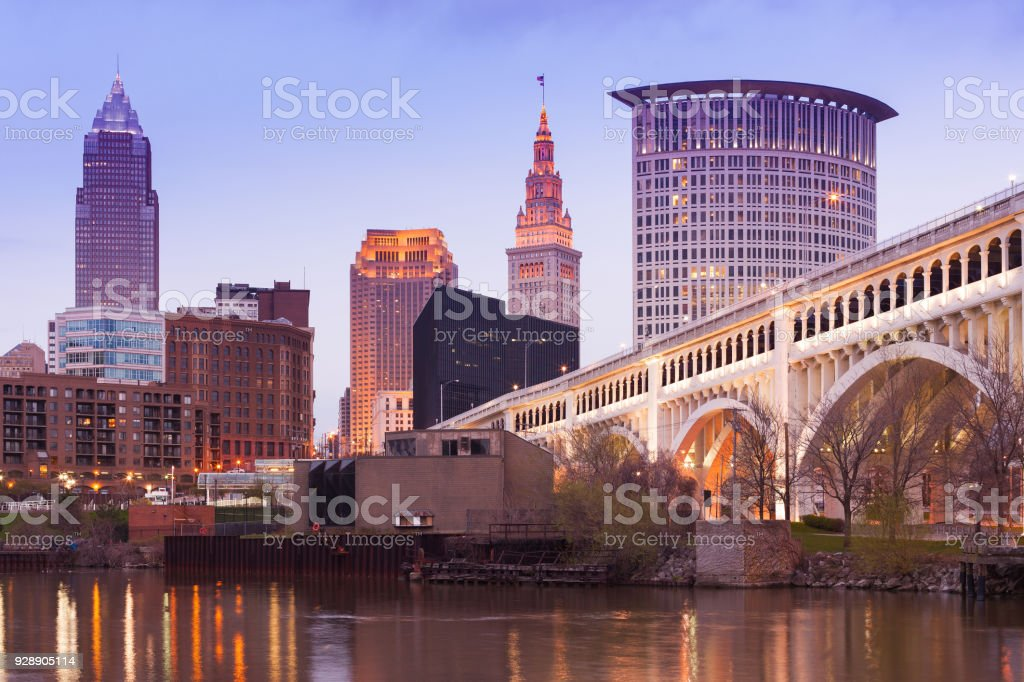 Detroit Superior Bridge over Cuyahoga River and downtown skyline in Cleveland stock photo