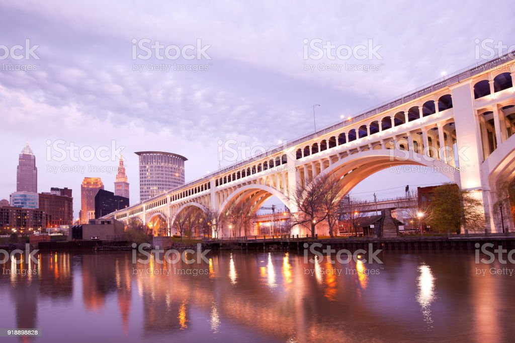 Detroit Superior Bridge over Cuyahoga River in Cleveland stock photo