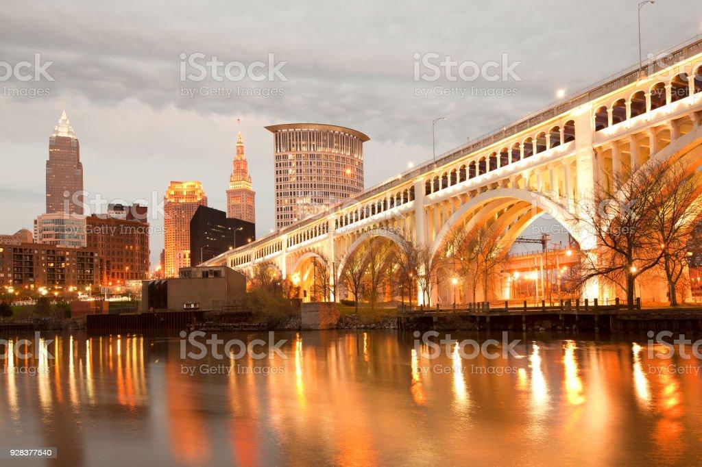 Detroit Superior Bridge over Cuyahoga River in Cleveland stock photo