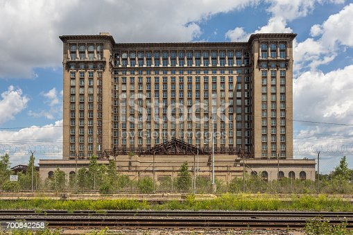 Detroit train station with blue sky