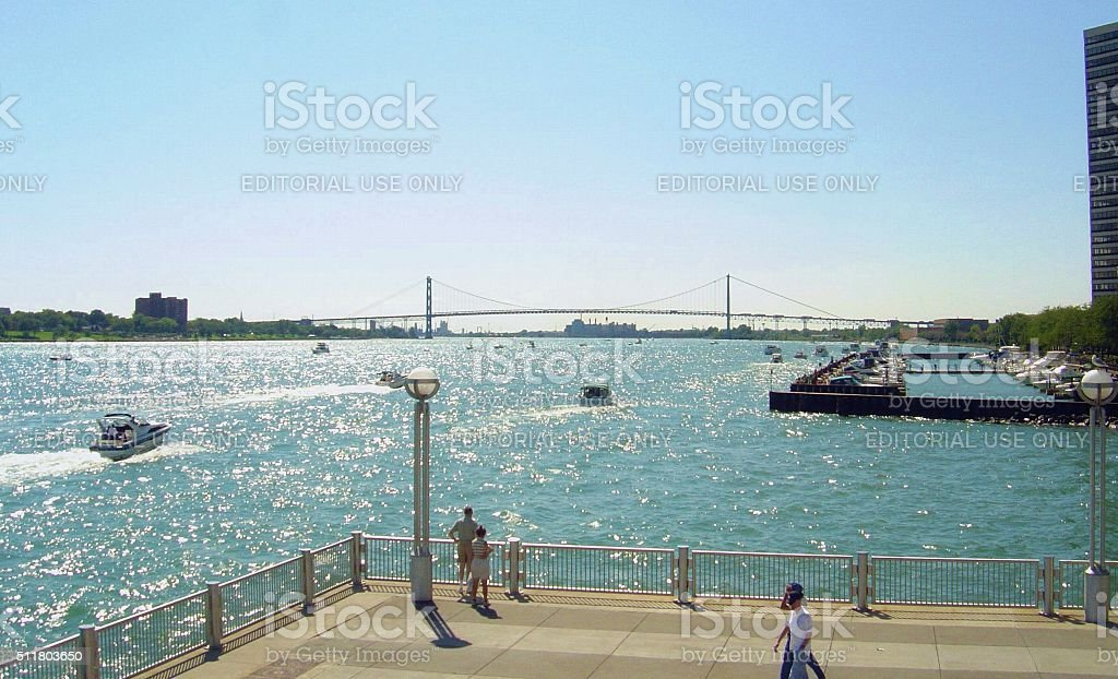 Detroit, Windsor and the Ambassador Bridge in summer stock photo