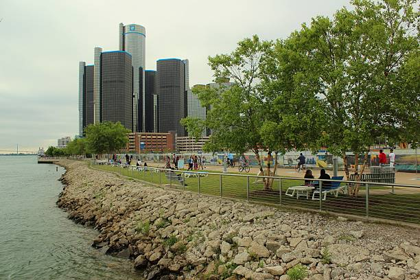 Detroit's Riverfront Park with RenCen and citizens stock photo
