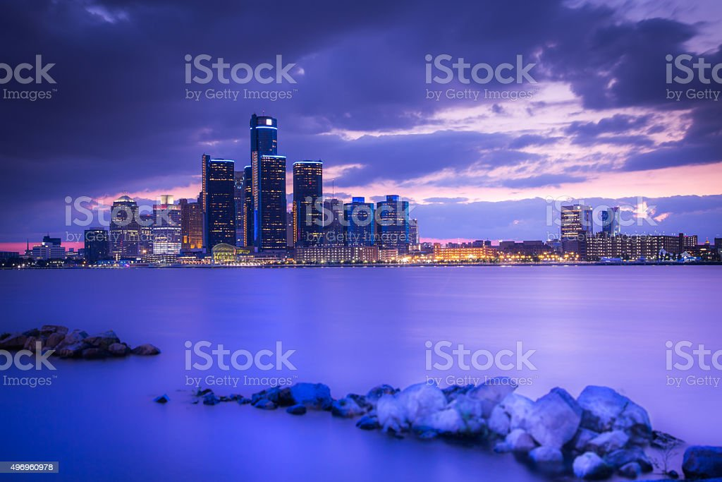 Detrot - Blue hour stock photo