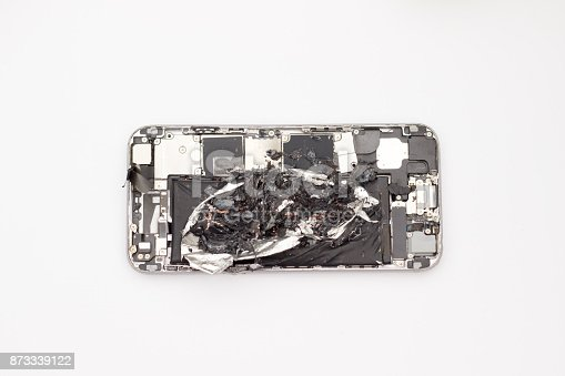 istock Detroyed inside workings of an open mobile phone 873339122