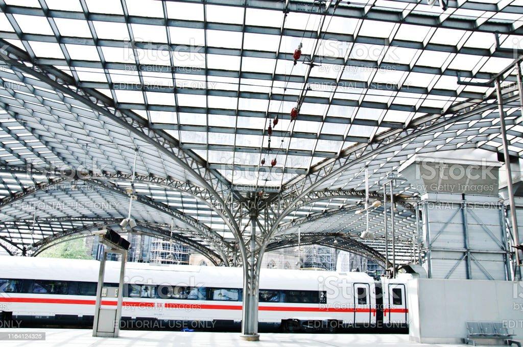 A Deutsche Bahn ICE high speed train at Koeln central Station,...