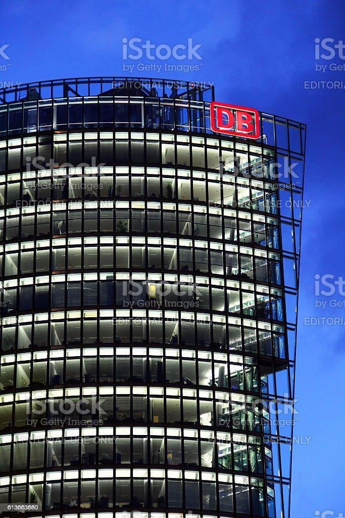 Deutsche Bahn Tower at Potsdamer platz in Berlin stock photo