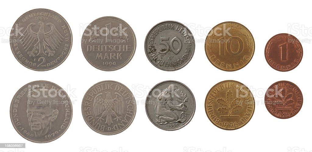 Deutsche Mark Coins Isolated on White stock photo
