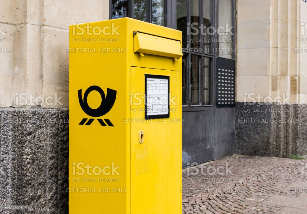 Deutsche Post Mailbox stock photo