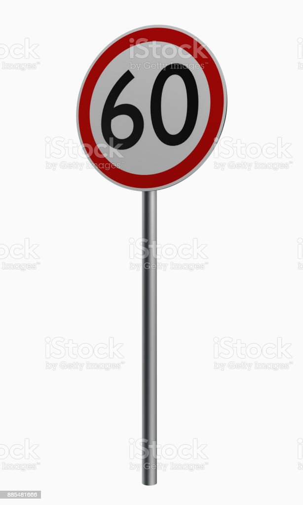 Deutsche Verkehrszeichen: Höchstgeschwindigkeit Sechzig. – Foto