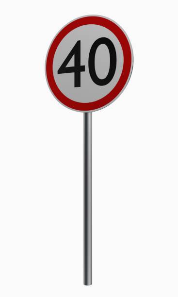 Deutsche Verkehrszeichen: Höchstgeschwindigkeit Vierzig. – Foto