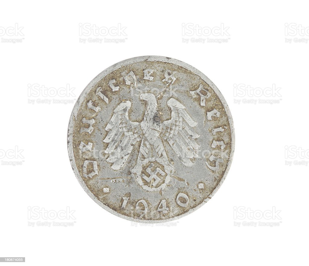 Deutsches coin isolated on white. Back. royalty-free stock photo