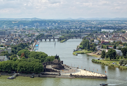 Deutsches Eck and cityscape in Coblenz (Germany) - Koblenz